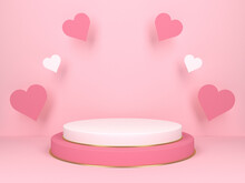 Pink Podium With Hearts. Wedding And Valentine's Day Concept. 3d Rendering