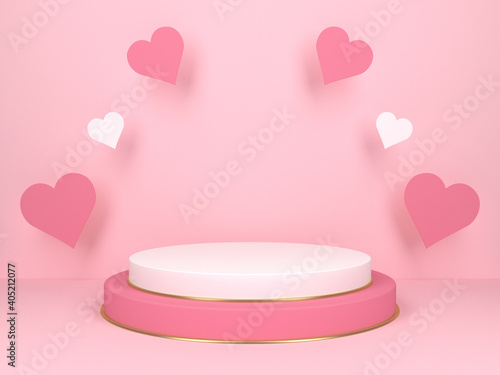 Cuadros en Lienzo Pink podium with hearts