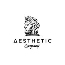 Ancient Greek Figure Face Head Statue Sculpture Logo Design, Elegance Logo Apollo God Wearing Leaf Crown, Line Linear Illustration Elegant Logo Illustration