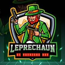 The Leprechaun Dwarf Mascot Holds A Gun. Esport Logo Design