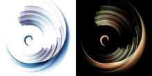 Blue And Orange Rounded Elements And Transparent Wavy Planes Rotate On White And Black Backgrounds. Graphic Design Elements Set. 3d Rendering. 3d Illustration. Sign, Icon, Symbol, Logo.