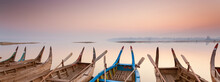 Wooden Boats Moored In Myanmar - Banner Background Image
