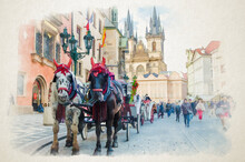 Watercolor Drawing Of Horse Carriage Coach For Tourists Entertainment In Prague Old Town Square