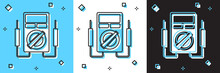 Set Ampere Meter, Multimeter, Voltmeter Icon Isolated On Blue And White, Black Background. Instruments For Measurement Of Electric Current. Vector.