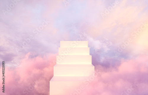 Obraz Natural beauty podium backdrop for product display with dreamy sky background. Romantic 3d scene. - fototapety do salonu