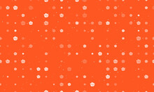 Seamless Background Pattern Of Evenly Spaced White Roses Of Different Sizes And Opacity. Vector Illustration On Deep Orange Background With Stars