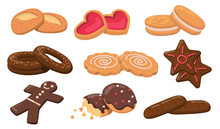 Colorful Biscuits And Cookies Flat Elements Set