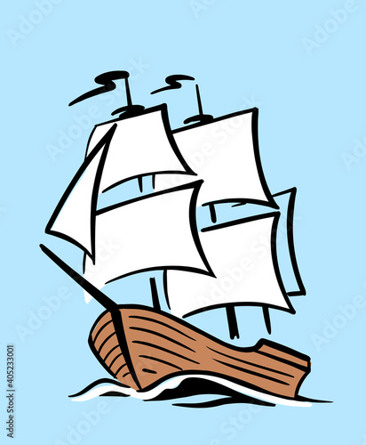 Fényképezés Ship with sail on waves