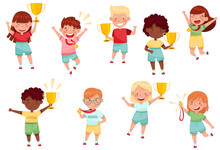 Cute Little Boy And Girl With Gold Medal And Cup As Achievement Award Vector Set