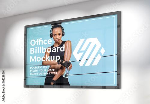 Obraz Billboard Hanging on Sunlit Office Wall Mockup - fototapety do salonu