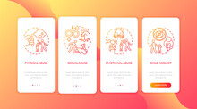 Children Abuse Red Onboarding Mobile App Page Screen With Concepts. Kid Harassment. Child Neglect Walkthrough 4 Steps Graphic Instructions. UI Vector Template With RGB Color Illustrations