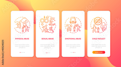 Tela Children abuse red onboarding mobile app page screen with concepts