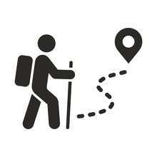 Hiking Icon. Walking. Public Footpath. Trail. Vector Icon Isolated On White Background.