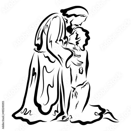 Obraz na płótnie loving old father kissing the returned prodigal son