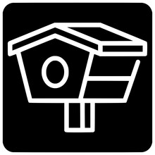 Kidergarten Bird House Icon Outline Style Vector Outline, Black, Icon, House, Bird, Animal, Isolated, Design, Vector, Environment, Fish, Thin
