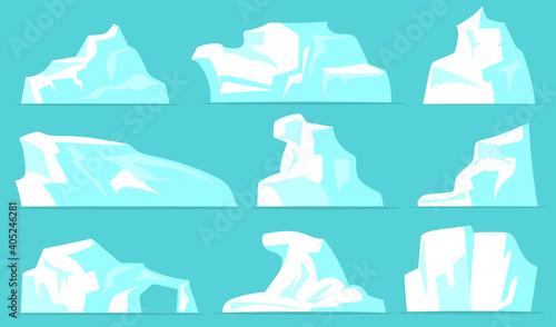 Various icebergs set Wallpaper Mural