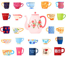 Set Of Different Mugs. Different Shapes And Patterns On The Cup. Tea Party. Background. Vector Illustration