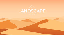 Desert Landscape. Sand Dunes. Nature Background. Vector