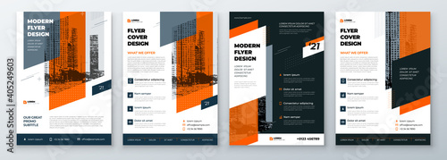 Flyer Design Set. Modern Flyer Background with Orange Accents. Template Layout for Flyer. Concept with Dynamic Circle Shapes. Vector Background.