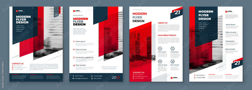 Fototapeta Flyer Design Set. Dark Red Modern Flyer Background Design. Template Layout for Flyer. Concept with Dynamic Line Shapes. Vector Background.