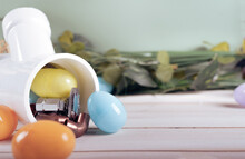 Easter Egg And Plumbing Tools, Copper Pipes And Fittings. Holiday Plumber.   Copy Space.