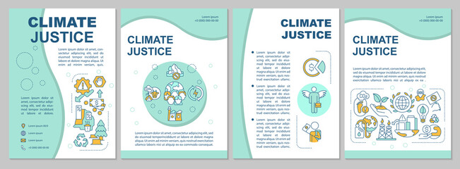 Fototapeta Boks Environment pollution brochure template. Flyer, booklet, leaflet print, cover design with linear icons. Climate justice. Vector layouts for magazines, annual reports, advertising posters