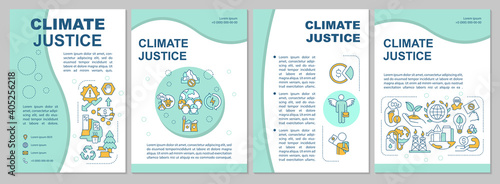 Environment pollution brochure template. Flyer, booklet, leaflet print, cover design with linear icons. Climate justice. Vector layouts for magazines, annual reports, advertising posters