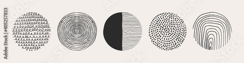 Obraz Set of round Abstract colorful Backgrounds or Patterns. Hand drawn doodle shapes. Spots, drops, curves, Lines. Contemporary modern trendy Vector illustration. Posters, Social media Icons templates - fototapety do salonu