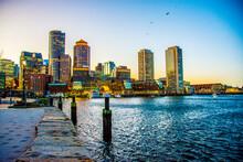 City Skyline At Sunset. Boston MA, US  2020