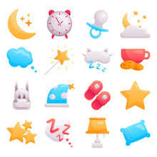 Set Of Modern Vector Flat Baby Icons On The Topic Of Sleep Time. Cute Decorations For Baby Items And Room. Image Of The Moon And Stars, Pillow, Dreams. All Pictures Are Isolated.