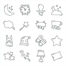 Set Of Modern Outline Vector Flat Baby Icons On The Topic Of Sleep Time. Cute Decorations For Baby Items And Room. Image Of The Moon And Stars, Pillow, Dreams. All Pictures Are Isolated.