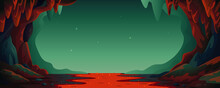 Cave - Vector Cartoon Background. Cavern Landscape With An Underground Lava River In Greenish-blue Colors. Vector Illustration In Flat Cartoon Style.