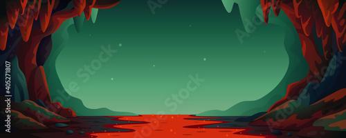 Fotografering Cave - vector cartoon background