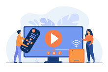 Vector Illustration For Movie Watching, Home Entertainment Concept. Tiny Couple Watching Video On Internet. Man Holding Remote Control, Woman Standing By Receiver Or Smart Box With Wi-Fi Signal