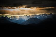 Dramatic Clouds Over Peaks Of Karwendel Range At Dusk