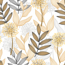 Stylized Abstract Seamless Pattern With Graphic Floral Elements For Fabric Design, Packaging And Wallpapers.