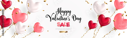 Fotografia, Obraz Valentine day background with festive realistic heart shape balloons with golden spiral ribbons