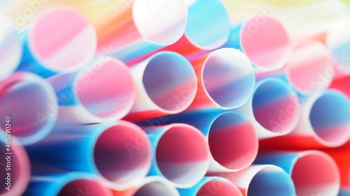 Fotografie, Obraz Full Frame Shot Colorful Drinking Straws