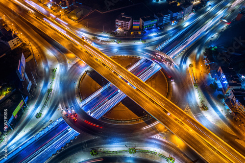 High Angle View Of Light Trails On Elevated Road At Night Fototapeta