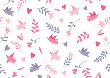 Seamless Romantic Spring Vibe Pattern With Birds, Hearts And Leaves