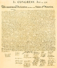 The United States Declaration Of Independence, July 4th., 1776