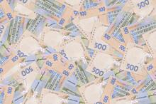 500 Ukrainian Hryvnias Bills Lies In Big Pile. Rich Life Conceptual Background