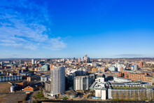 Aerial Photo Of The Leeds City Centre Taken From The Area Known As The Leeds Dock Taken In The Winter Time In A Bright Day