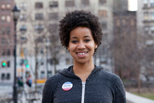 Portrait Of Woman With Vote Pin