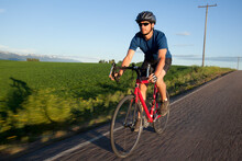 USA, Montana, Kalispell, Cyclist Captured In Motion