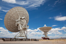 USA, New Mexico, Very Large Array, Satellite Dish On Desert
