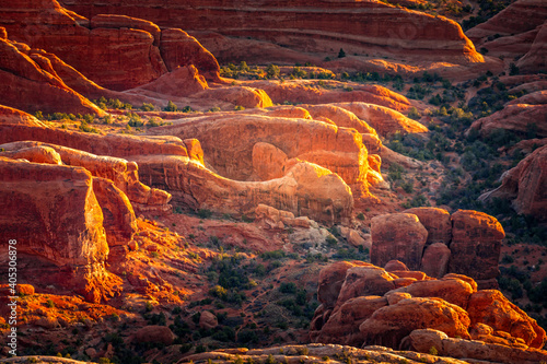 Fotografering Aerial view on the geological structures of the Arches National Park,  Utah
