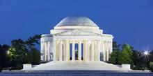 USA, Washington DC, Illuminated Jefferson Memorial At Dusk