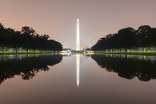 USA, Washington DC, Washington Monument Reflecting In Lincoln Memorial Reflecting Pool At Night