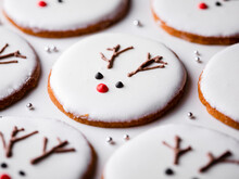 Homemade Christmas Cookies With Reindeer Decoration